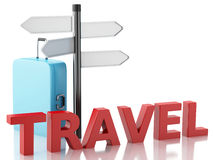 3d Travel suitcase and sign board Royalty Free Stock Photos