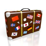3D travel suitcase. 3D suitcase with stickers - flags from all over the world - great for topics like traveling etc Stock Photos