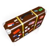 3D travel suitcase. 3D suitcase with stickers - flags from all over the world - great for topics like traveling etc Stock Photography
