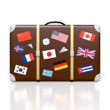 3D travel suitcase. 3D suitcase with stickers - flags from all over the world - great for topics like traveling etc Stock Image