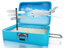 3d Travel suitcase. Summer holidays concept. 3d renderer image. Travel suitcase with Airplane and sing board. Beach vacation concept. Isolated white background Stock Photo