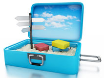 3d Travel suitcase. Summer holidays concept. 3d renderer image. Travel suitcase with sing board. Beach vacation concept.  white background Royalty Free Stock Images