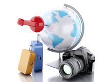 3d Travel suitcase and world globe. 3d renderer image. Travel suitcase and world globe with pushpin. Travel vacation concept.  white background Stock Photography