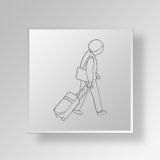 3D Traveling woman icon Business Concept Stock Photography