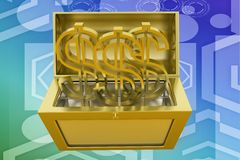 3d treasure box with dollar symbol illustration Royalty Free Stock Photography