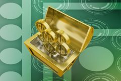 3d treasure box with dollar symbol illustration Royalty Free Stock Photos