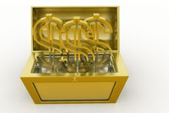 3d treasure box with dollar symbol Royalty Free Stock Photo
