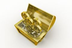 3d treasure box with dollar symbol Royalty Free Stock Images
