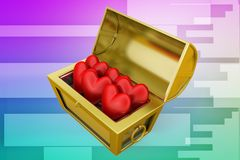 3d treasure box with heart /love symbol illustration Royalty Free Stock Photos