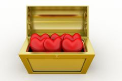 3d treasure box with heart /love symbol Stock Images