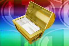 3d treasure box illustration Stock Images