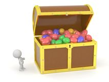 3D Treasure Chest with Easter Eggs and 3D Character Stock Image