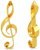 3d Treble Clef made of gold Stock Image