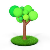 3d tree in green grass Royalty Free Stock Photography