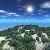 3D tree island. 3D render of an island covered in trees Stock Images