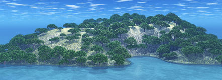 3D tree island. 3D render of an island covered in trees Royalty Free Stock Photography