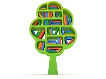 3d Tree of knowledge. Bookshelf on white. Tree of knowledge. 3d Bookshelf on white background. Studing illustration Stock Photos