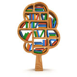 3d Tree of knowledge. Bookshelf on white. Stock Photography