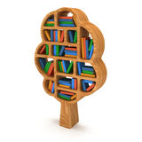 3d Tree of knowledge. Bookshelf on white. Stock Images