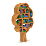 3d Tree of knowledge. Bookshelf on white. Royalty Free Stock Photos