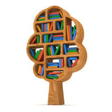 3d Tree of knowledge. Bookshelf on white. Royalty Free Stock Images