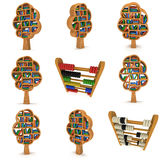 3d Tree of knowledge. Bookshelf on white set. 3d Tree of knowledge set. Render Bookshelf illustration isolatedon white. Education concept Royalty Free Stock Image