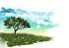 3D tree landscape with brush strokes Stock Photography