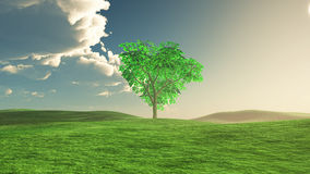 3D tree landscape with storm cloud approaching Royalty Free Stock Photography