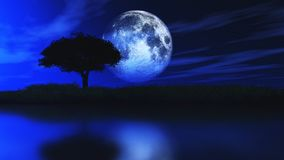 3D tree silhouetted against a moonlit sky. 3D render of a tree silhouetted against a moonlit sky Stock Photos