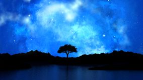 3D tree silhouetted against a starry night sky. 3D render of a tree silhouetted against a starry night sky Royalty Free Stock Image