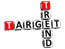 3D Trend Target Crossword cube words Royalty Free Stock Image