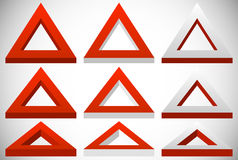 3d triangle shape in more colors set at different angles Stock Images