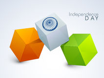 3D Tricolor Cubes for Indian Independence Day. Glossy 3D Tricolor Cubes with Ashoka Wheel for Happy Indian Independence Day celebration Stock Image