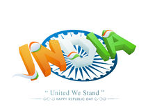 3D Tricolours text India for Republic Day. 3D glossy text India in National Flag colours on Ashoka Wheel for Happy Republic Day celebration Royalty Free Stock Photography
