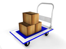 3d trolley with boxes. Illustration of blue 3d trolley with boxes Royalty Free Stock Image