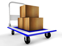 3d trolley with boxes. Illustration of blue 3d trolley with boxes Stock Photo