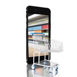3d Trolley with grocery shop in smartphone. Shop online concept. Royalty Free Stock Photography