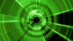 2D Tron Round Tunnel Portal Vortex Green Color with Light Rays stock footage