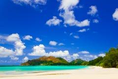 d'Or tropical del corral de la playa en Seychelles Imagen de archivo