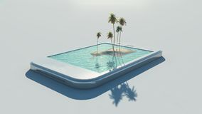3d tropical image. Coming out of a touch screen.  This is a 3d render illustration Stock Images
