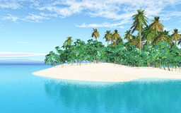3D tropical island in sea. 3D render of a tropical island in sea Royalty Free Stock Images