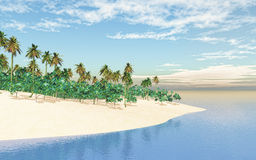 3D tropical island in sea. 3D render of a tropical island in sea Stock Photos