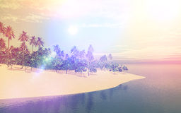 3D tropical island in sea with retro effect Royalty Free Stock Photography