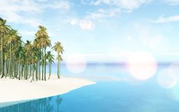 3D tropical landscape with palm tree island. 3D render of a tropical landscape with palm tree island Stock Illustration