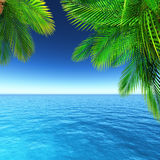 3D tropical landscape with palm trees and ocean Stock Photography