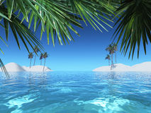 3D tropical landscape. 3D render of a tropical landscape Stock Photography