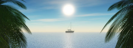 3D tropical landscape with yacht sailing in the ocean Stock Images