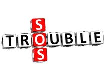 3D Trouble SOS Crossword Stock Images
