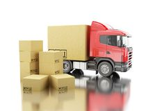 3d Truck with carboard boxes. 3d illustration. Truck with carboard box. Delivery concept. Isolated white background Stock Photos