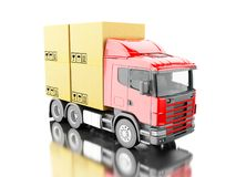 3d Truck carry carboard boxes Stock Photo